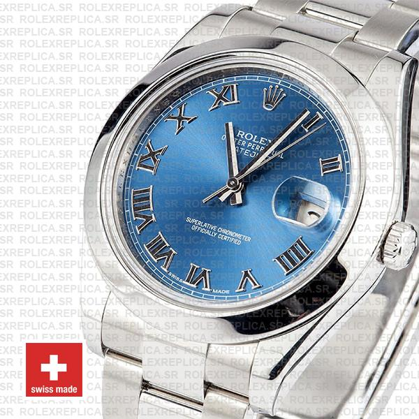 Rolex Oyster Perpetual Datejust II 904L Steel 41mm Blue Dial with Smooth Bezel 116300 Replica