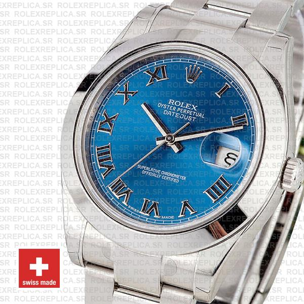 Rolex Oyster Perpetual Datejust II 904L Steel 41mm Blue Dial with Smooth Bezel 116300