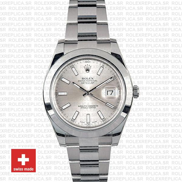 Rolex Datejust II Silver Dial 41mm Swiss Replica Watch with Stainless Steel Smooth & Fixed Bezel