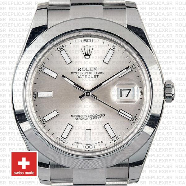 Rolex Datejust II Silver Dial 41mm Swiss Replica Watch with Stainless Steel Smooth & Fixed Bezel Watch