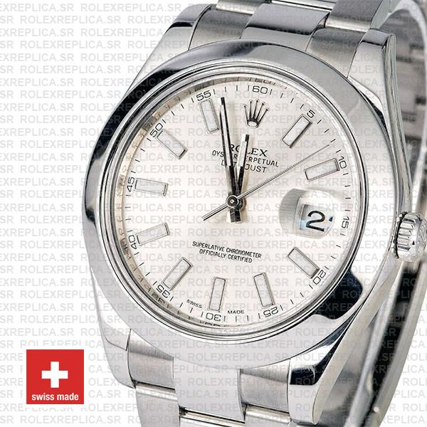 Rolex Datejust II Silver Dial 41mm Swiss Replica Watch with Stainless Steel Smooth & Fixed Bezel Replica Watch