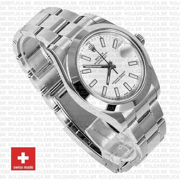 Rolex Datejust II White Dial 41mm 904L Steel Swiss Replica Watch