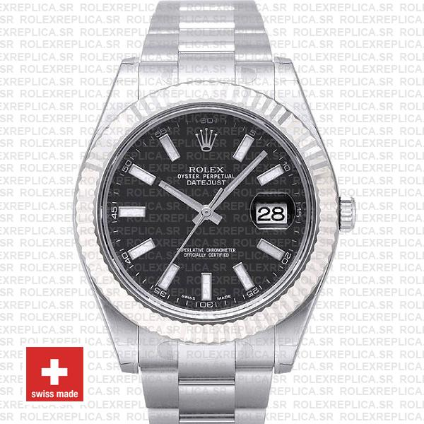 Rolex Datejust Ii Steel White Gold Black 41mm 116334 Swiss Replica