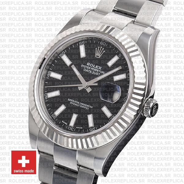 Rolex Datejust ΙΙ 904L Steel Black Dial Stick Markers 18k White Gold Fluted Bezel 41mm