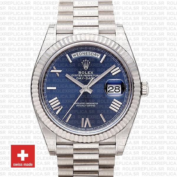Rolex Day-Date 40 White Gold Blue Roman Dial   Rolex Replica