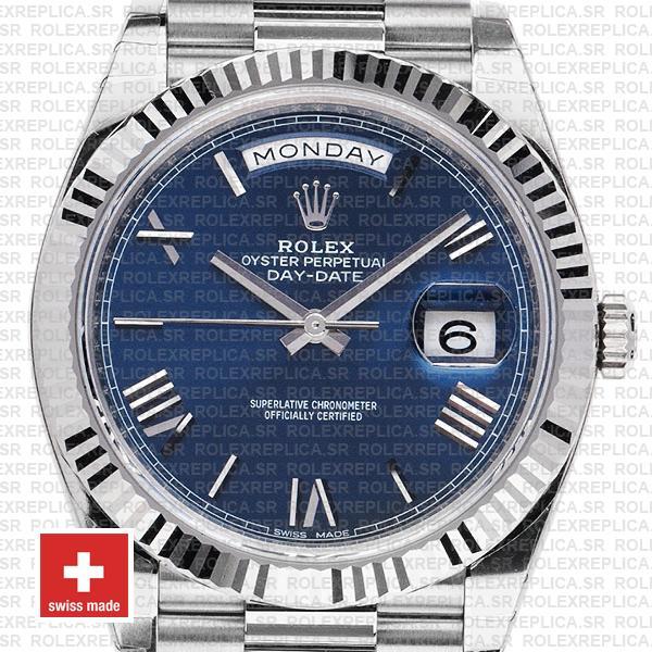 Rolex Day-Date 40 White Gold Blue Roman Dial Rolex Replica Watch