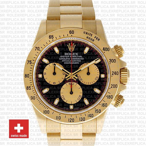 Rolex Daytona Gold Black Dial 40mm | Rolex Replica Watch