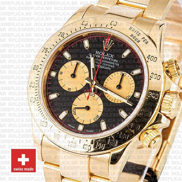 Rolex Daytona Gold Black Dial 40mm Rolex Replica Watch