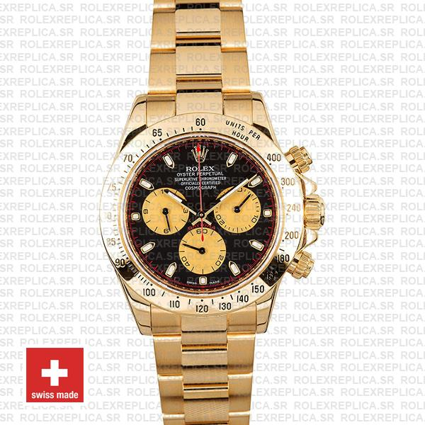 Rolex Daytona 18k Yellow Gold Black Dial with Gold Subdials Oyster Bracelet