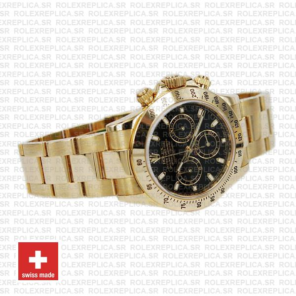 Rolex Daytona Yellow Gold Black Dial 40mm Swiss Replica Watch