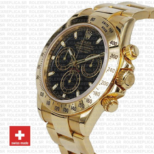 Rolex Cosmograph Daytona 116528 Gold Black Swiss Replica