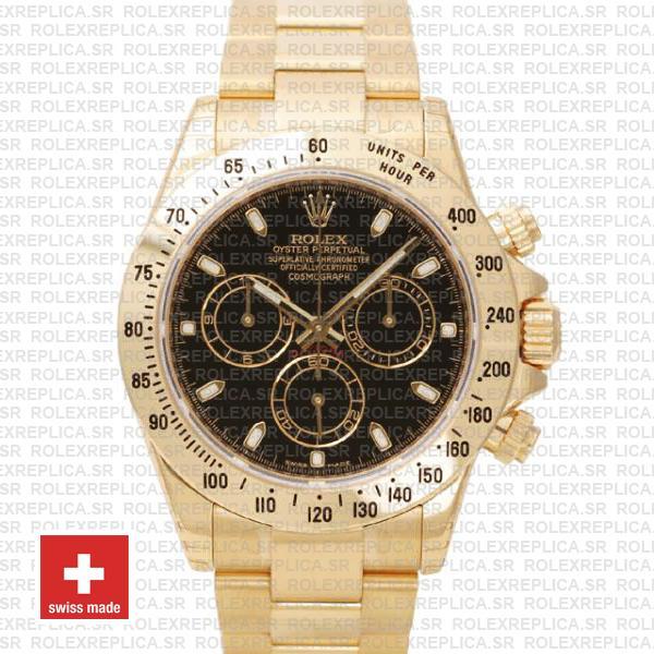 Rolex Daytona Yellow Gold Black Dial 40mm | Swiss Replica