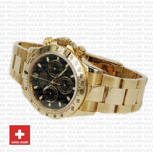 Rolex Daytona Yellow Gold Black Dial 40mm Swiss Replica
