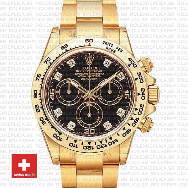 Rolex Daytona Cosmograph Gold Black Diamond Dial Watch