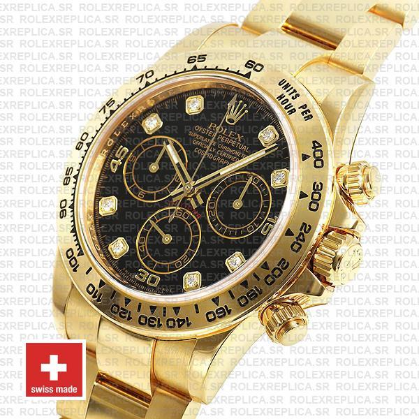 Rolex Oyster Perpetual Cosmograph Daytona 40mm 18k Yellow Gold Black Diamond Dial