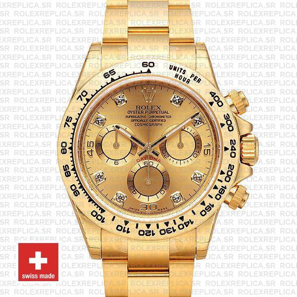 Rolex Daytona Diamond Gold Dial | 18k Yellow Gold Replica