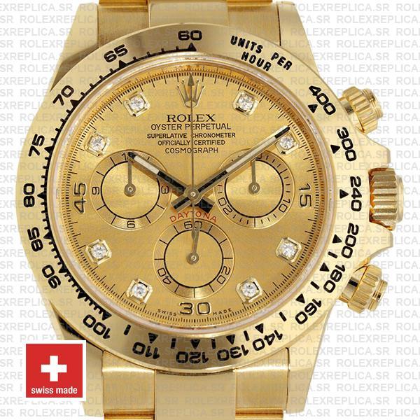 Rolex Daytona Diamond Gold Dial 18k Yellow Gold Replica Watch