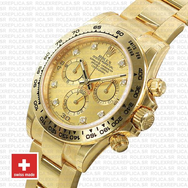 Rolex Cosmograph Daytona 40mm 18k Yellow Gold 904L Stainless Steel Diamond Gold Dial