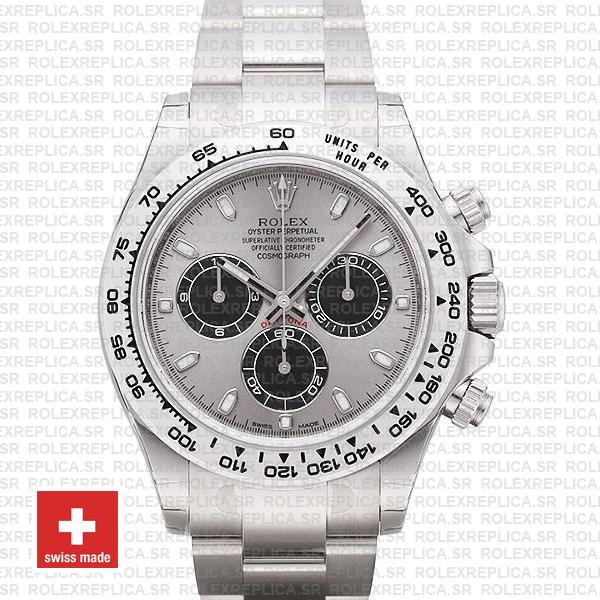 Rolex Cosmograph Daytona 18k White Gold 904L Steel Panda Steel Dial Stick  Markers 40mm Swiss Replica Watch