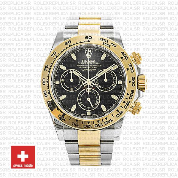 Rolex Daytona Black Dial 40mm Two-Tone Rolex Replica Watch