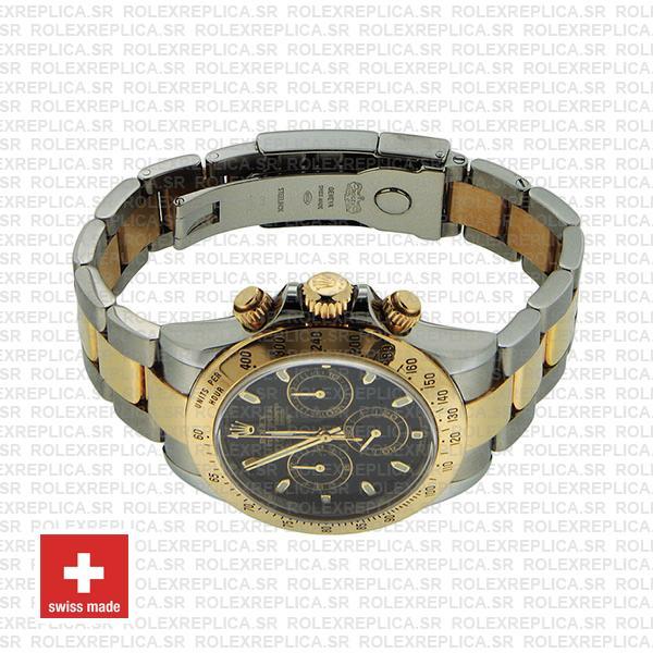 Rolex Daytona 18k Yellow Gold Two-Tone 904L Steel Black Dial Replica Watch