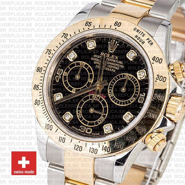 Rolex Daytona Black Diamond Dial Two-Tone Replica Watch