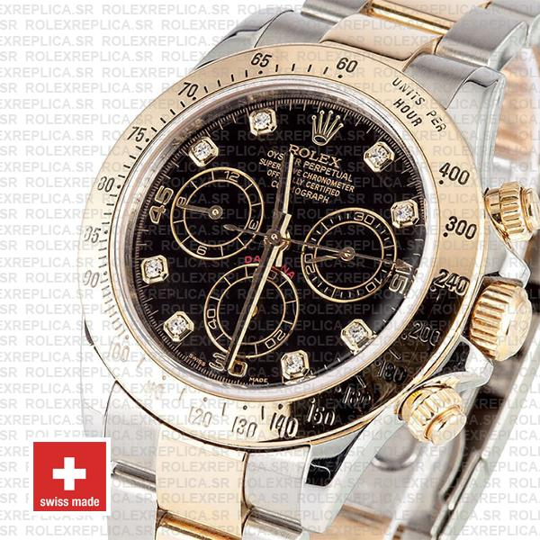 Rolex Cosmograph Daytona 18k Yellow Gold 904L Stainless Steel Two-Tone Black Diamond Dial 40mm