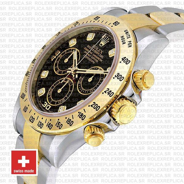 Rolex Daytona Black Diamond Dial Two-Tone Swiss Replica Watch