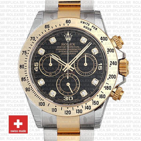 Rolex Cosmograph Daytona 18k Yellow Gold 904L Stainless Steel Two-Tone Black Diamond Dial