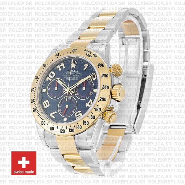 Rolex Daytona Two-Tone Blue Arabic Dial Yellow Gold Replica Watch