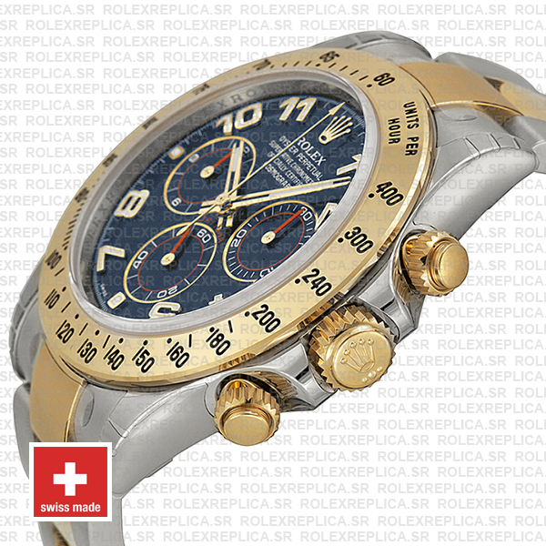 Rolex Daytona Two-Tone Blue Arabic Dial Yellow Gold Swiss Replica Watch