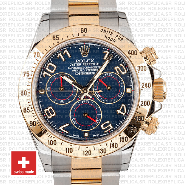 Rolex Oyster Perpetual Cosmograph Daytona 18k Yellow Gold Two-Tone 904L Steel Watch
