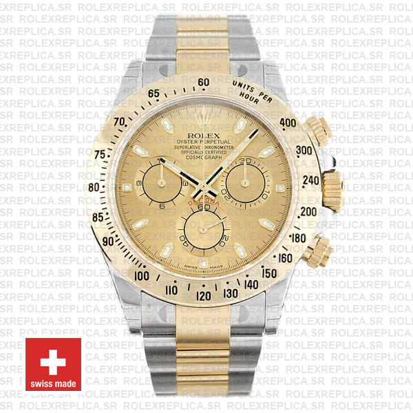 Rolex Cosmograph Daytona 18k Yellow Gold in Two-Tone with Gold Dial