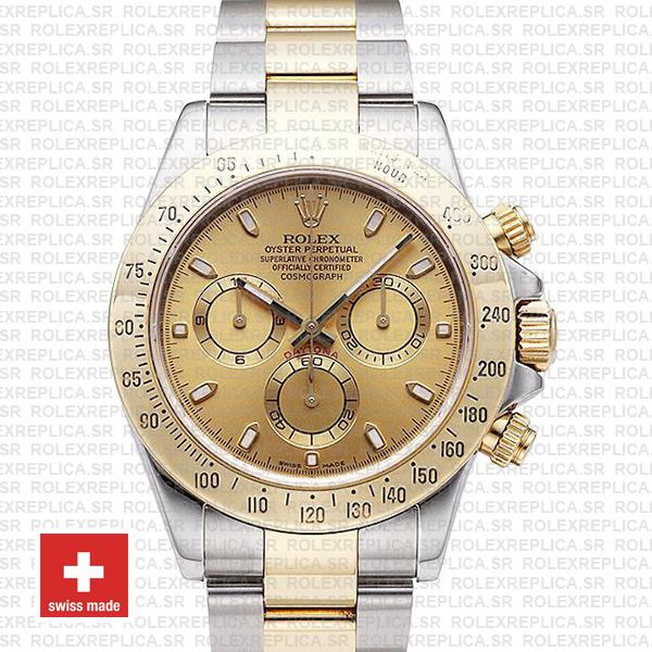 Rolex Cosmograph Daytona 18k Yellow Gold in Two-Tone with Gold Dial 904L Steel Oyster
