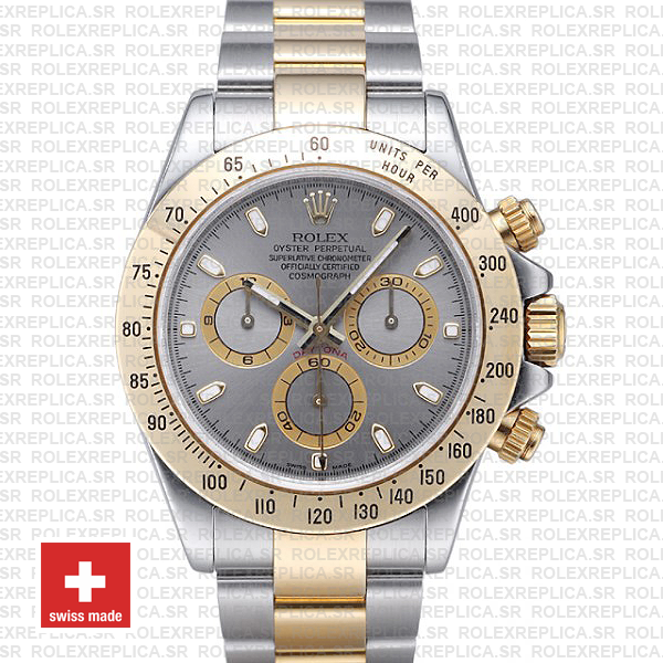 Rolex Daytona Stainless Steel 40mm Two-Tone Grey Dial Watch