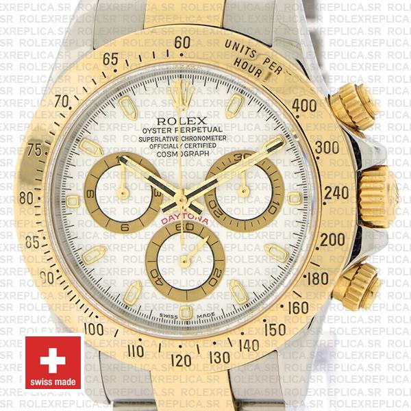 Rolex Daytona Two-Tone 18k Yellow Gold White Dial Replica Watch