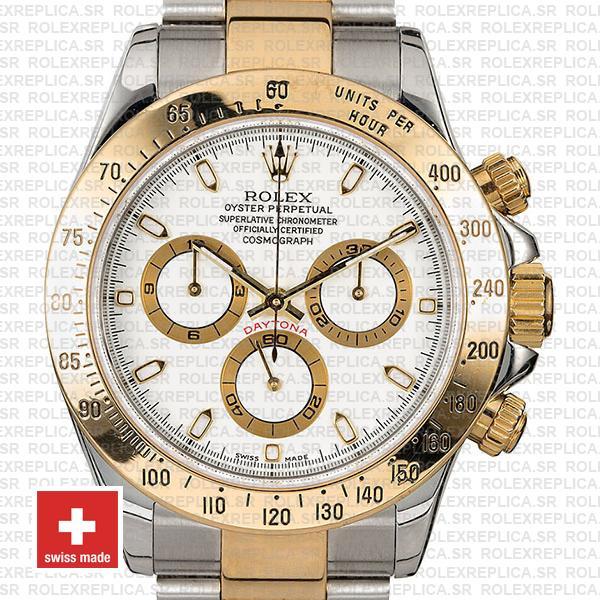 Rolex Cosmograph Daytona Two-Tone Gold 904L Steel White Dial