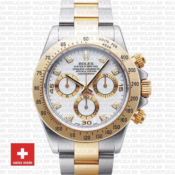 Rolex Daytona Two-Tone Yellow Gold White Diamond Dial Watch