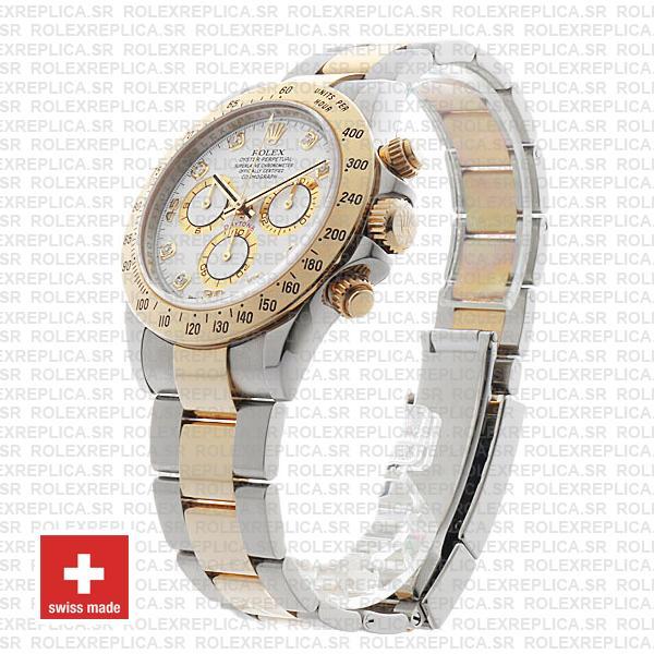 Rolex Daytona Two-Tone Yellow Gold White Diamond Dial Replica Watch