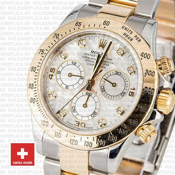 Rolex Daytona Two-Tone Yellow Gold White Diamond Dial Swiss Replica Watch