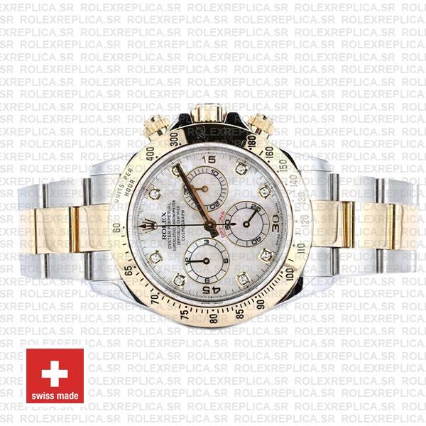 Rolex Cosmograph Daytona Two-Tone Gold 904L Steel White Mop Diamond Dial