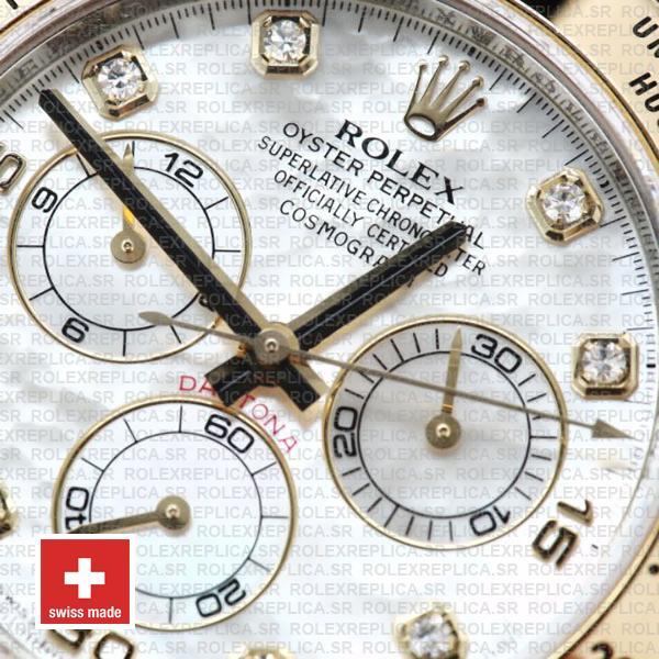 Rolex Cosmograph Daytona Two-Tone Gold 904L Steel White Mop Diamond Dial Replica