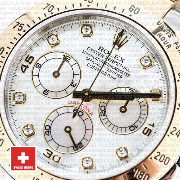 Rolex Cosmograph Daytona Two-Tone Gold 904L Steel White Mop Diamond Dial Replica Watch