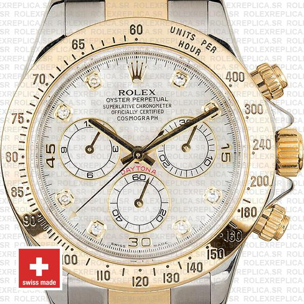 Rolex Daytona 2 Tone White Mop Diamonds 40mm 116523 Swiss Replica