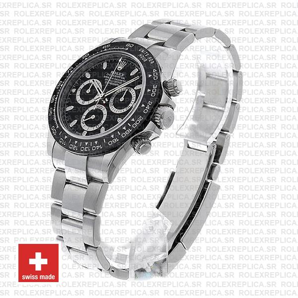 Rolex Oyster Perpetual Cosmograph Daytona Stainless Steel Watch with an Oyster Bracelet features a Black Ceramic bezel