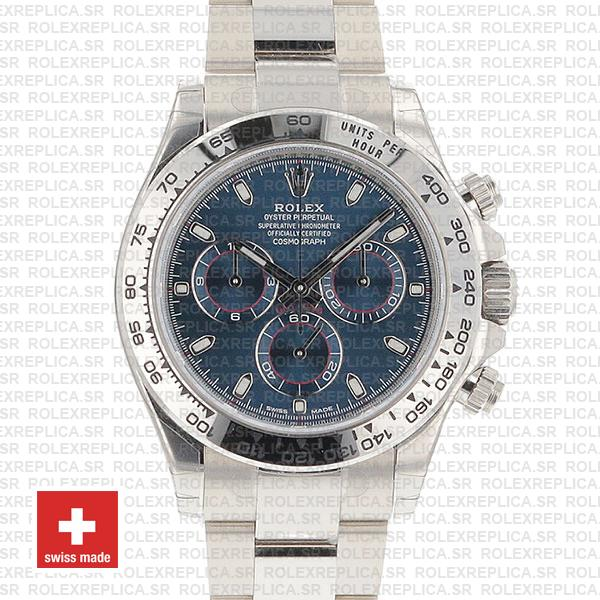 Rolex Daytona 18k White Gold Blue Dial | Rolex Replica Watch