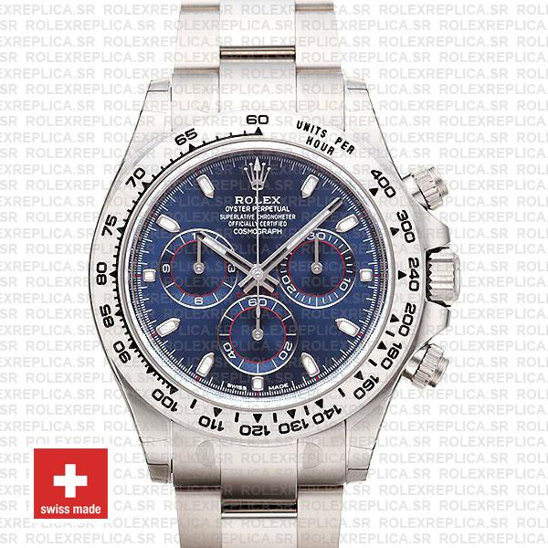 Rolex Daytona 18k White Gold Blue Dial Rolex Replica Watch