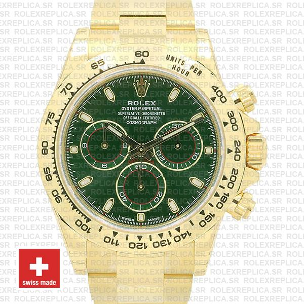 Rolex Daytona 18k Yellow Gold Green Dial 40mm with Subdials, 904L Stainless Steel Oyster Bracelet Replica Watch