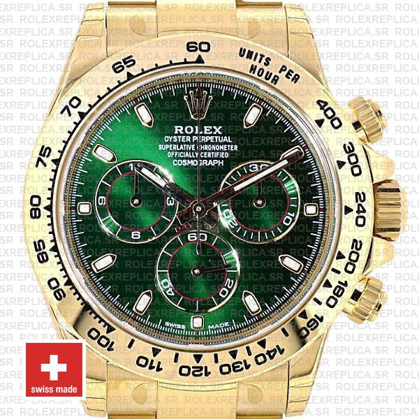 Rolex Daytona 18k Yellow Gold Green Dial 40mm with Subdials, 904L Stainless Steel Oyster Bracelet Replica