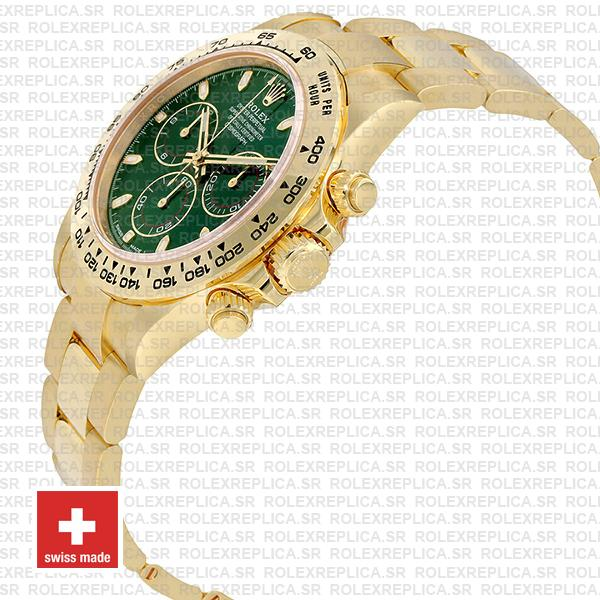 Rolex Daytona 18k Yellow Gold Green Dial 40mm with Subdials, 904L Stainless Steel Oyster Bracelet